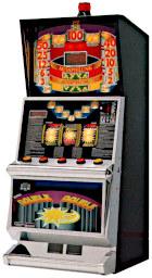 Altes deutsches Geldspielgerät 'Double Double' von Mega (gehörte schon zu ADP) aus dem Jahr 1997 im Slotmaschine-Gehäuse