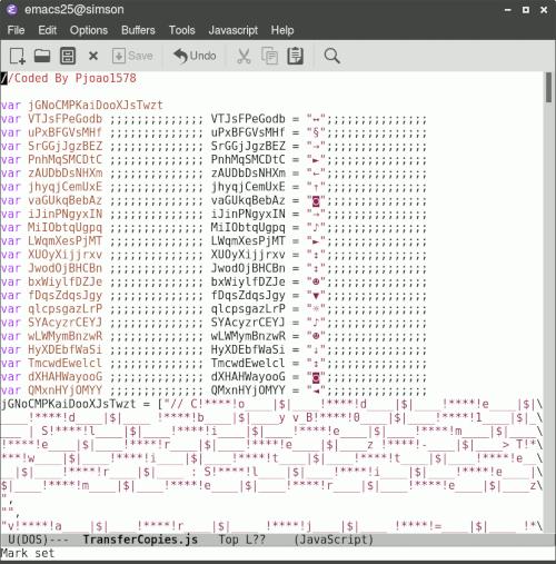 Screenshot der Javascript-Datei in meinem Editor. Der Code ist vorsätzlich kryptisch programmiert