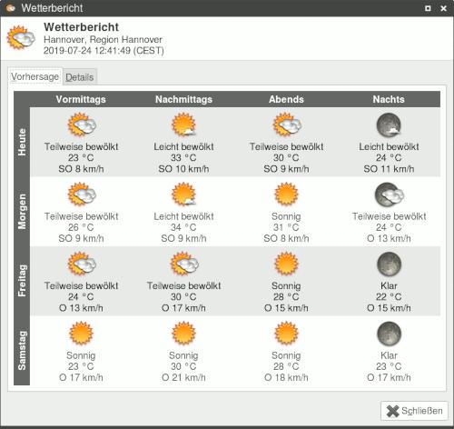 Anzeige des aktuellen Wetters und der Vorhersage für die nächsten Tage in einem Programm. Gegenwärtig sind es 33°C, und selbst in der Nacht kühlt es nicht unter 24°C ab. Dies wird die nächsten Tage so bleiben.