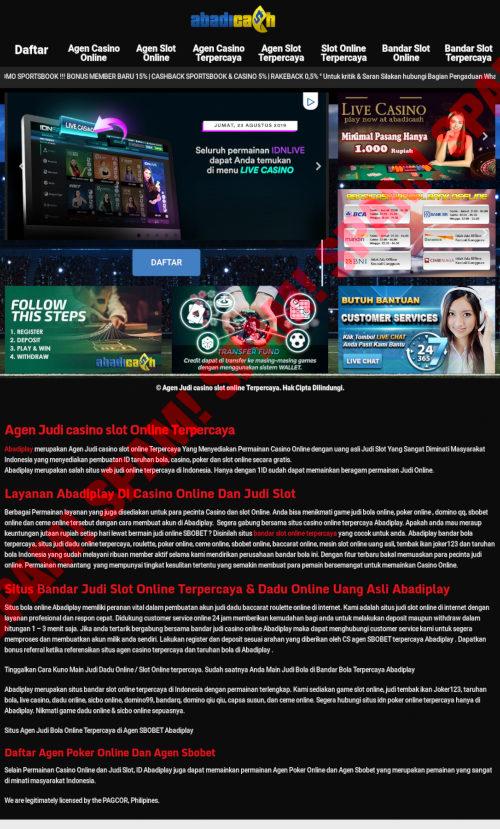 Screenshot der spambeworbenen indischen Abzockcasino-Site