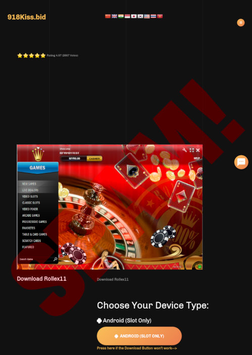 Screenshot der angeblichen Casino-Website spammender Affiliates