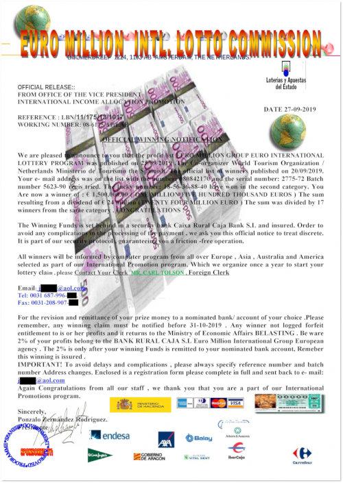 An die Spam gehängtes JPEG-Bild mit dem angeblichen Brief des Lotterieveranstalters