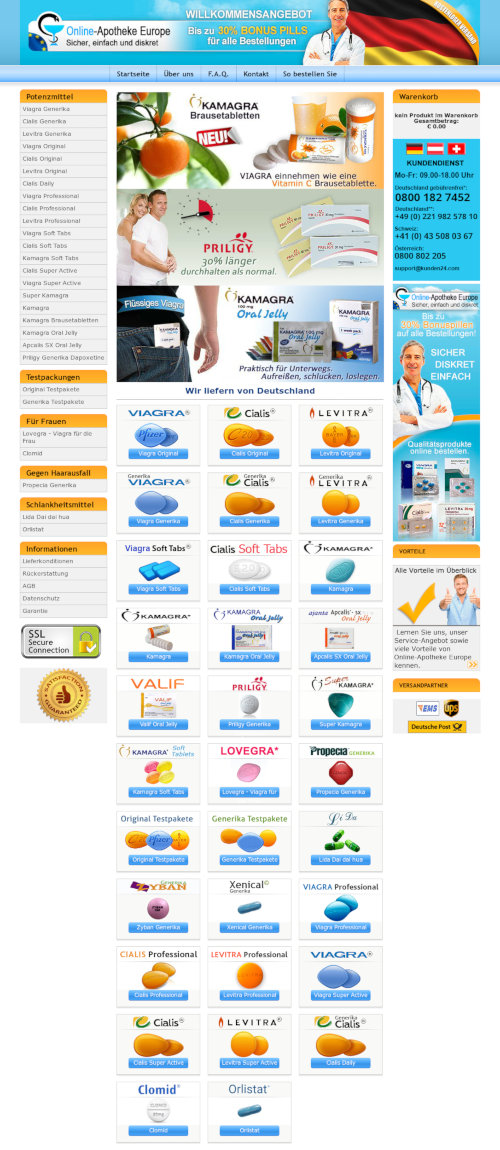 Screenshot der spambeworbenen, betrügerischen Apotheke