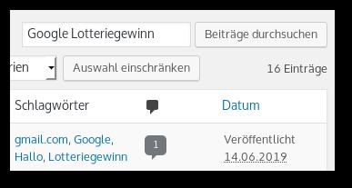 Betragssuche aus dem Backend von WordPress, Suchbegriff 'Google Lotteriegewinn', 16 Beiträge gefunden