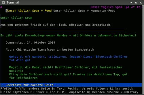 Screenshot: Darstellung von 'Unser täglich Spam' in einem reinen Textbrowser in einem Terminalfenster.