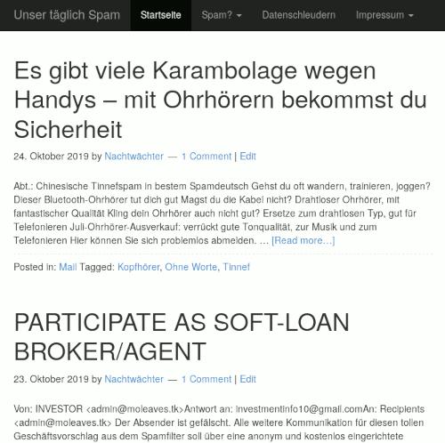 Screenshot: Darstellung von 'Unser täglich Spam' in einem typischen Smartphone-Browser