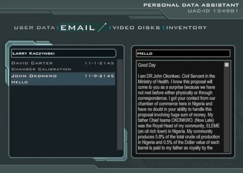 Screenshot des Posteinganges auf dem PDA von Larry Kaczynski mit dem Anfang der 419-Spam