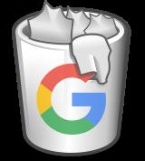 Volle Mülltonne, beschriftet mit dem 'G' aus dem Google-Logo