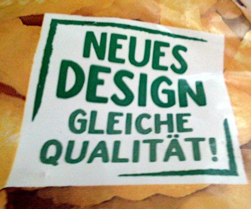 Detail aus einer Verpackung: Der Aufdruck 'Neues Design, gleiche Qualität'.