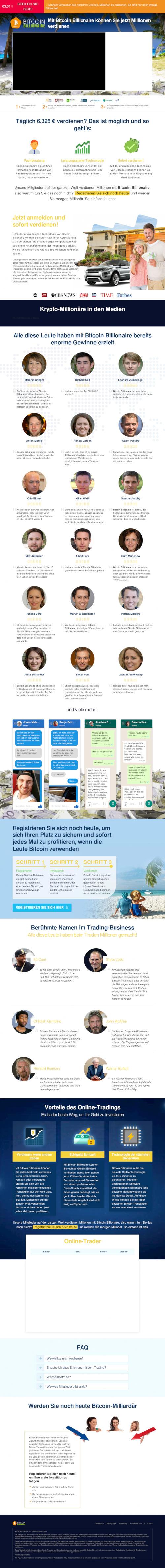 Screenshot der betrügerischen, mit Spam beworbenen Website eines Bitcoin-Reichwerdexperten