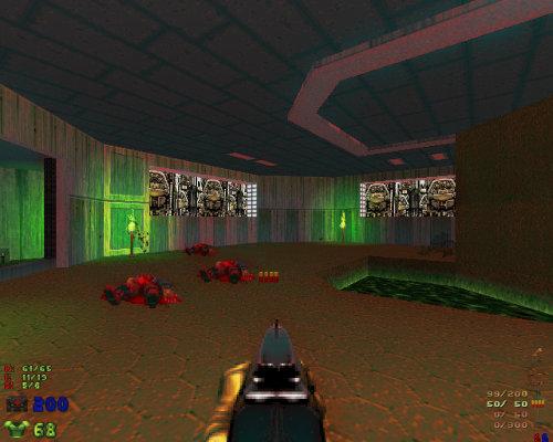 Stark nachbearbeiteter Screenshot aus dem Spiel DooM. Der Spieler in Ich-Perspektive hält eine Schrotflinte, vor ihm liegen drei Leichen erschossener Zombies.