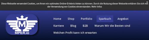 Detail aus der Website unter mper (punkt) io -- Die Navigation mit den Punkten Home, Shop, Portfolio, Sparbuch, Angebot, Karriere, Blog, B2B, Warum Wir die Besten sind, Welchen Profit kann ich erwarten