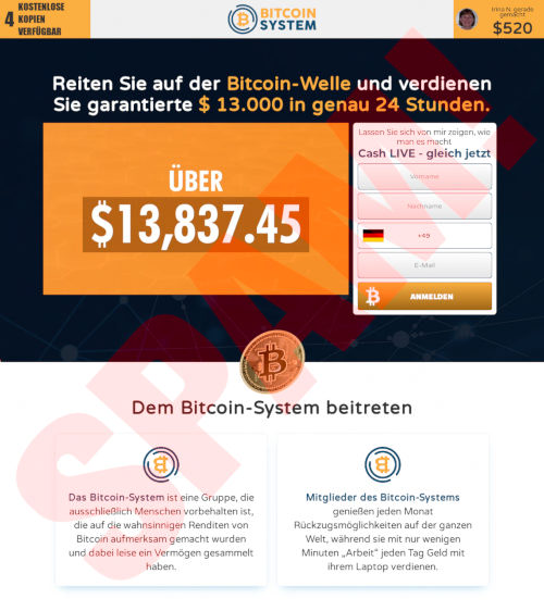 Screenshot der betrügerischen Website Bitcoin-System