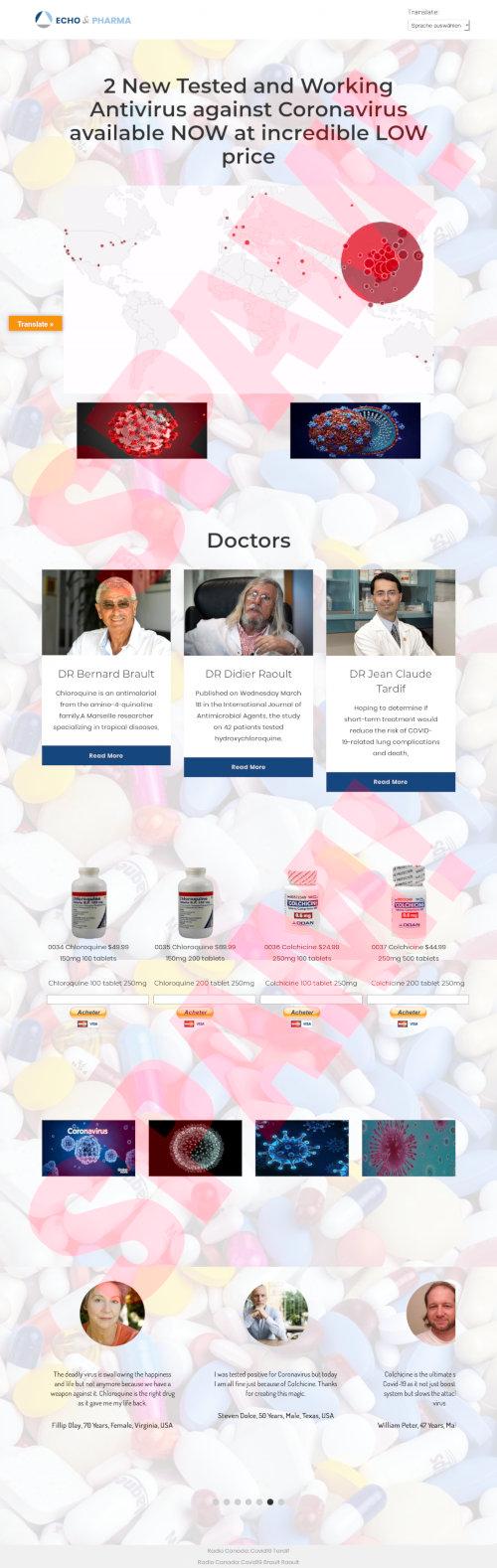 Screenshot der quacksalberischen, betrügerischen und lebensgefährlichen Website, auf der Chloroquin als Heilmittel gegen Corona verkauft wird