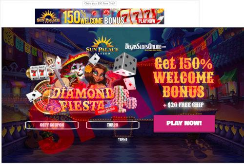 Screenshot der betrügerischen Casino-Site eines spammenden Affiliate-Lumpenkaufmannes mit dem angeblichen Casino-Namen Diamond Fiesta