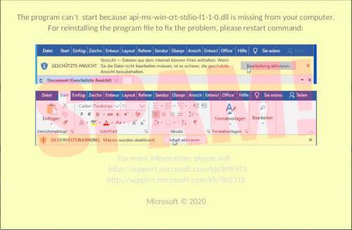 Screenshot einer derartigen Aufforderung, Makros freizuschalten