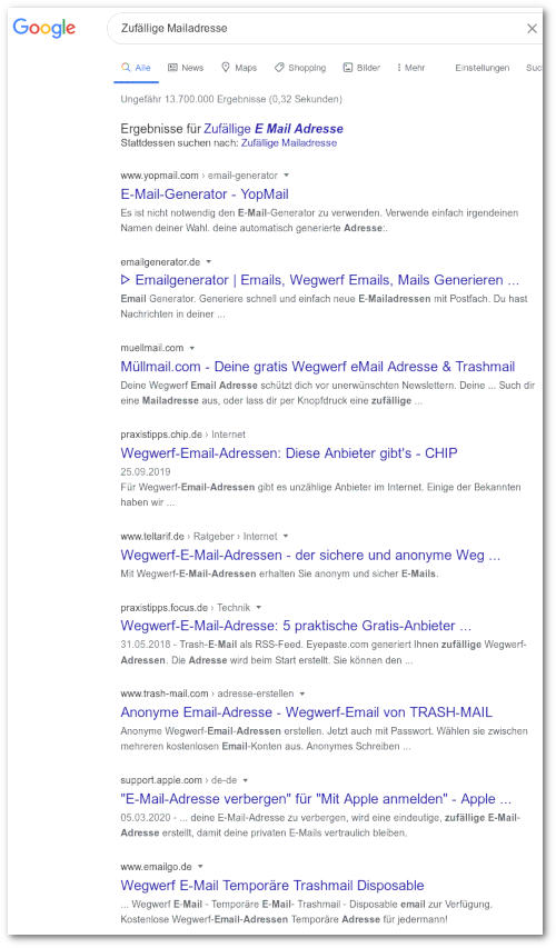 Screenshot: Google-Suchergebnis für den Suchbegriff 'Zufällige Mailadresse', gefunden wurden praktisch nur Anbieter von Wegwerf-Mailadressen.