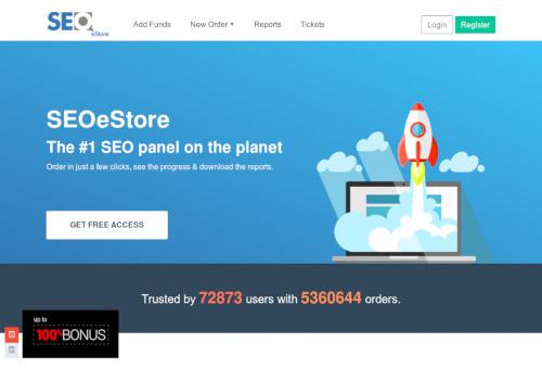 Screenshot der mit SEO-Spam beworbenen Website -- mit einem grafischen Motiv eines Laptops, von dem eine Rakete in die Wolken startet