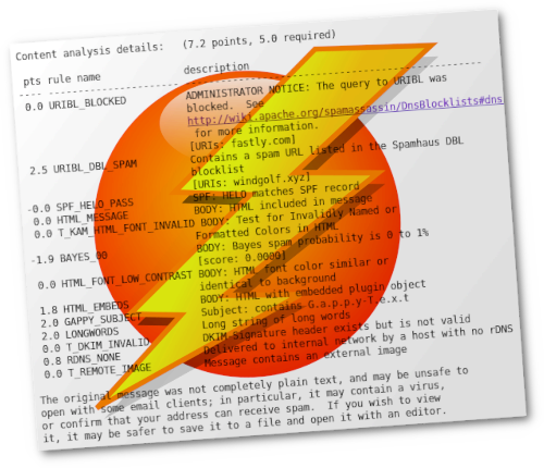 Mit Gimp bearbeiteter Screenshot der Bewertung einer erkannten Spam durch SpamAssassin