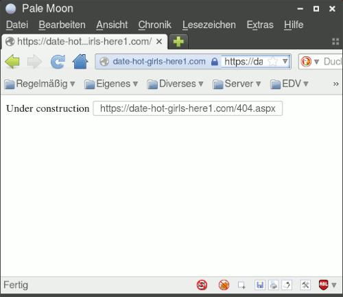 """Screenshot des Browserfensters mit einem HTTP-Fehler 404 und dem Hinweis """"Under construction"""""""