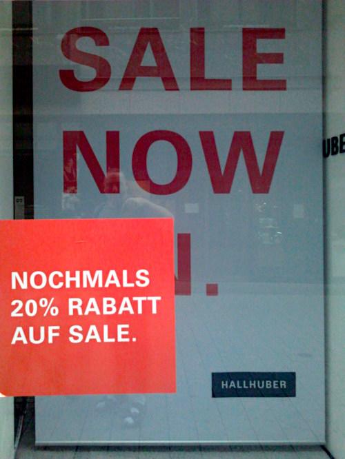 Schaufenster in Hannover -- SALE NOW -- HALLHUBER -- NOCHMALS 20% RABATT AUF SALE.