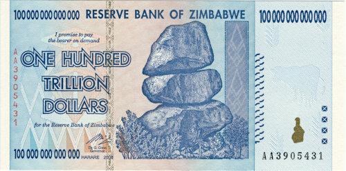 Banknote aus der Hyperinflation in Zimbabwe: Hundert Billionen Dollar