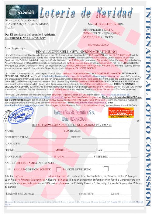 PDF-Anhang des angeblichen Lotteriegewinnes in der christlichen Weihnachtslotterie