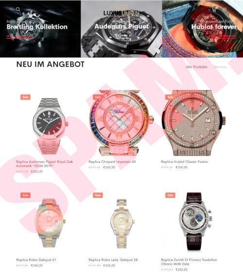 Screenshot der betrügerischen, mit Spam beworbenen Website, auf der man Imitate von hochpreisigen Armbanduhren kaufen kann
