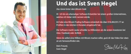Detail aus der gleichen dummen Bitcoin-Reichwerdbetrugs-Seite mit dem gleichen abgebildeten Typen und dem gleichen Text, aber mit der Unterschrift Steve McKay unter 'Dein Freund, Sven Hegel'.