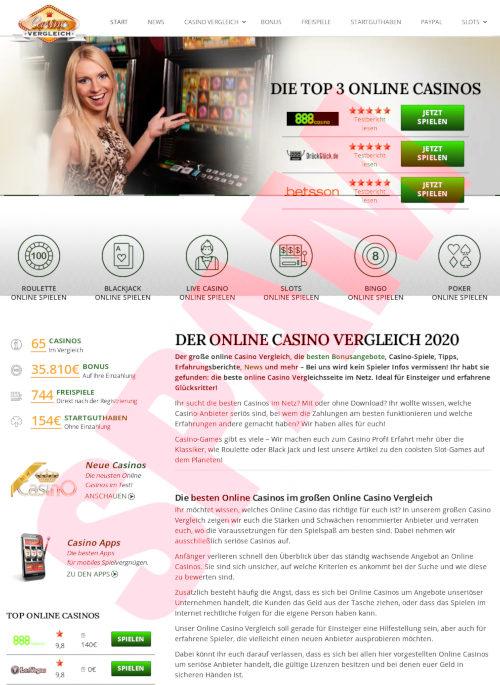 Screenshot der mit SEO-Spam beworbenen Website