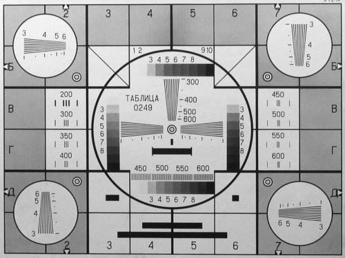 Altes optisches Testbild Tabliza 249 aus der Sowjetunion (schwarz-weiß)