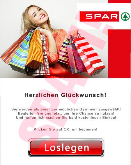 Aufwendige Grafik mit SPAR-Logo und grinsender Frau vollbeladen mit bunten Einkaufstaschen. -- Herzlichen Glückwunsch! -- Sie werden als einer der möglichen Gewinner ausgewählt! Begleiten Sie uns jetzt, um Ihre Chance zu nutzen! Und hoffentlich machen Sie bald kostenlosen Einkauf! Klicken Sie auf OK, um zu beginnen! -- [Loslegen]