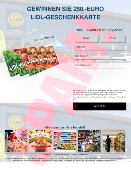 Screenshot der mit Spam beworbenen, betrügerischen Website