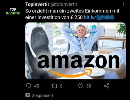 Tweet von @topinvertir, gesponsorter Tweet (also vom Verfasser bezahlte Reklame): So erzielt man ein zweites Einkommen mit einer Investition von €250 -- Über den URL-Kürzer Bitly gekürzter Link