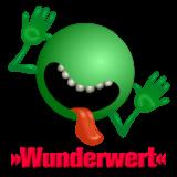 Ein grüner Smiley ohne Augen mit groß aufgerissenem Mund (kaputte Zähne) und heraushängender Zunge. Darunter das Wort »Wunderwert«