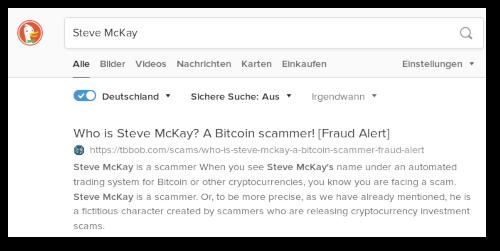DuckDuckGo-Suchergebnis zu Steve McKay. Erstes Suchergebnis: Who is Steve McKay? A Bitcoin scammer! [Fraud Alert]