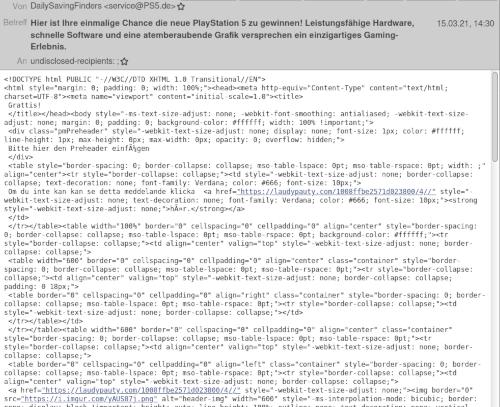 Screenshot der Ansicht der Spam im Thunderbird. Statt des Textes sieht man den HTML-Quelltext einer HTML-formatierten E-Mail
