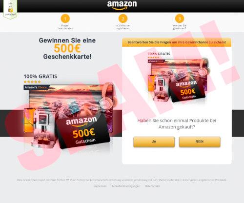 Screenshot der betrügerischen Website, die so aussehen soll, als sei sie von Amazon