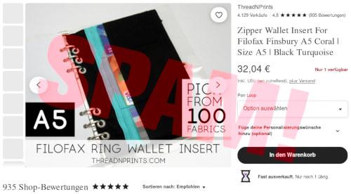 Screenshot eines Angebotes in einem Webshop