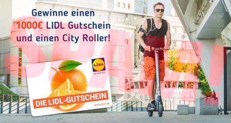 Aus externer Quelle in die E-Mail eingebettete Grafik mit dem Text: Gewinne einen 1000€ LIDL Gutschein und einen City Roller -- Abbildung einer Geschenkkarte mit Aufdruck: DIE LIDL-GUTSCHEIN