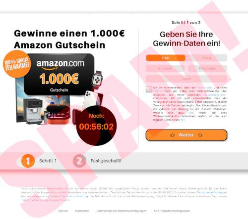 Screenshot der Website, die nichts mit Amazon zu tun hat
