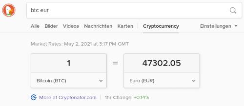 Screenshot, wie man schnell den Bitcoin-Kurs mit einer Internet-Suchmaschine herausbekommt