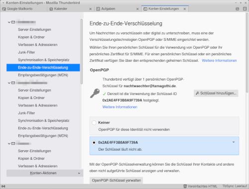 Screenshot der PGP-Schlüsselverwaltung für ein E-Mail-Konto im Mozilla Thunderbird