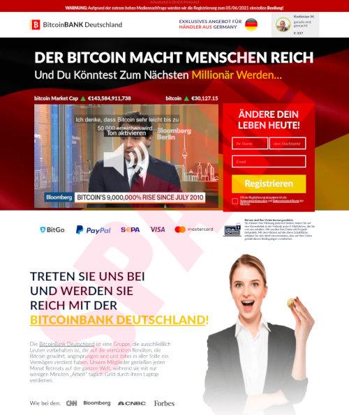 Screenshot der betrügerischen Website BitcoinBank Deutschland