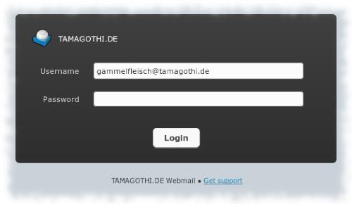 Screenshot der angeblichen Login-Maske für den angeblichen Webmailer von tamagothi.de