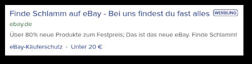 Finde Schlamm auf eBay -- Bei uns findest du fast alles -- WERBUNG -- ebay.de -- Über 80% neue Produkte zum Festpreis; Das ist das neue eBay. Finde Schlamm! -- eBay-Käuferschutz -- Unter 20€