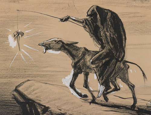 Eine alte Karikatur, die den auf einem Esel reitenden Tod zeigt, der dem Esel mit einer Angelleine eine Karotte vor Augen hält, damit er weiter geht. Der Esel rennt gierig auf den Abgrund zu.
