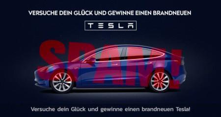 Versuche dein Glück und gewinne einen brandneuen Tesla -- Abbildung eines Tesla-Autos -- Versuche dein Glück und gewinne einen brandneuen Tesla