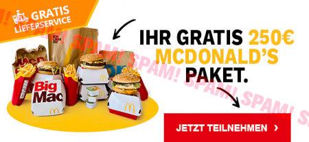 Grafik aus der Spam. Gratis Lieferservice -- Ihr Gratis 250€ McDonald's Paket. -- Jetzt teilnehmen